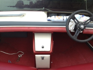 long shot of glove box dashboard before painting